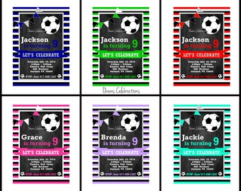 Soccer Party Invitation, Boys Soccer Party Invitation, Girls Soccer Invitation - Digital File