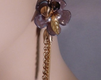Translucent Purple Flower With Gold Chain Fringe Earrings