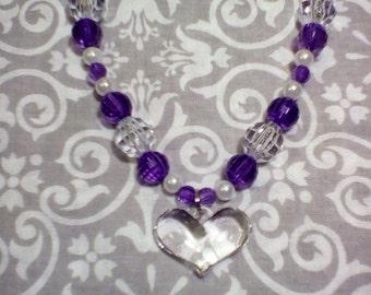 PURPLE Beaded HEART CHARM Necklace