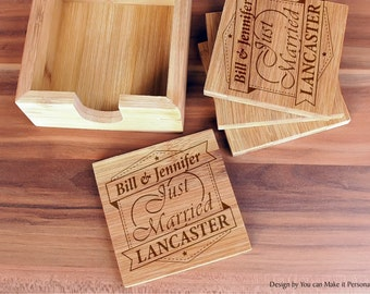 Custom Coasters, Wedding Gift, Personalized Coasters, Custom Engraved Bamboo Coasters, Just Married