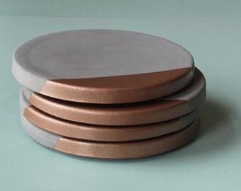 concrete + copper coasters - set of four