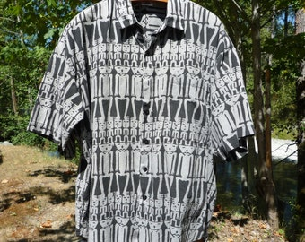 XL SKELETON PATTERN Black & Gray Cotton Short Sleeve Shirt Please See The Measurements As It's Big !