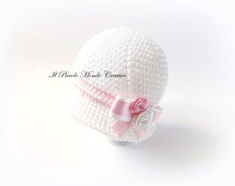 Baby Girl Cotton Hat, size 0-3 months, Ready to Ship