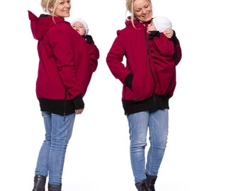 Softshell babywearing coat, baby carrying jacket, baby carrier jacket, allweather maternity clothes, bordeaux-red, AVENTURO