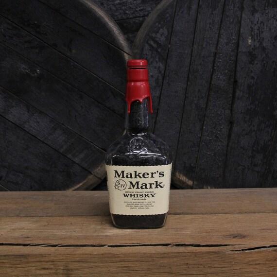 Char Filled Maker's Mark Whisky Bottle, Valentines Day Present For Guys, Bourbon Gift, Gift For Men, Guy Gift, Valentines For Him, Man Cave
