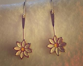 Pretty Daisy Earrings (Sterling Silver Hooks)