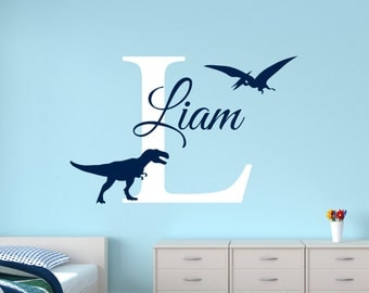 Personalized Name Wall Decal - Dinosaur Wall Decal- Boys Name Decal - T-Rex Wall Decal - Kids Room Wall Decal - Nursery Decal