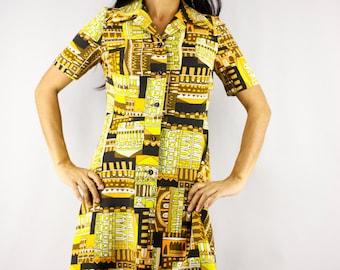 70s Japanese Cotton Collared Shift Dress/ Yellow Black Landscape Abstract Novelty Print/ Short Sleeve Button Up Shirt Dress/ Summer Day Mod