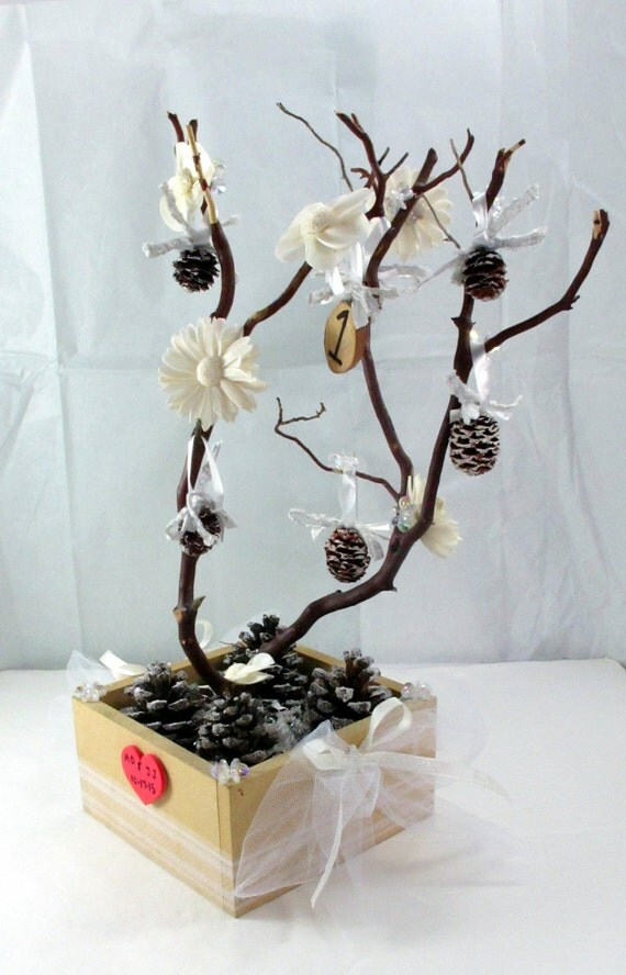 Inches manzanita tree white wedding centerpiece by