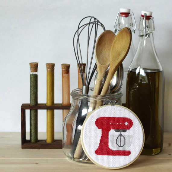 Kitchen Art Mixer: Retro Kitchen Mixer Cross Stitch Baking Pattern By Stitchonomy
