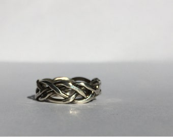 Wide Four Strand Braided Silver Ring