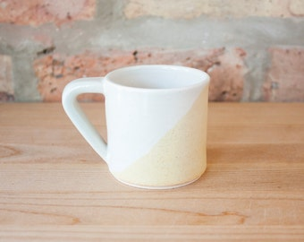 White & Yellow Geometric Espresso Cup by Barombi Studios