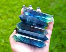 Deep Blue Fluorite Wand Point, Ocean Rainbow Fluorite Double Sided Wand. Double Terminated Fluorite, Healing Crystal, Magical Blue Fluorite