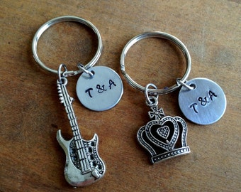 Couples Keychain Rocker and Princess Set / His and Hers Matching /Couple Gift/ Gift for Her  Gift For Him / Gift of Love