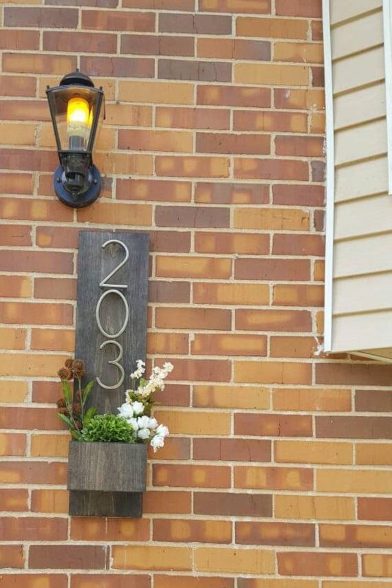 Rustic Address Planter, Address Sign, House Numbers Sign, Address Plaque, New House, Address Planter, Vertical Address Sign