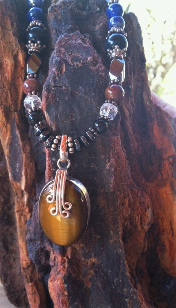 Ancient Wisdom with Tiger-eye Pendant, Crystal Healing, Sedona Jewelry, Vortex, Charged, Sterling Silver, Affirmation, Yoga, Crystal Healing