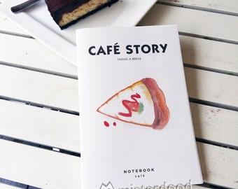 CUSTOM TEXT Journal, Carrot Cake Notebook, Foodie Dessert Slice Onom Minimal Art, Misterdood Watercolor Design Illustrations, Birthday Party