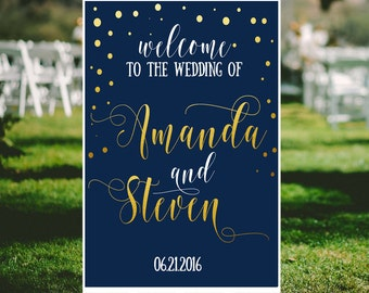 Navy wedding welcome sign Navy and gold confetti personalized wedding  Fairytale wedding sign blue DIY Shower welcome sign printables