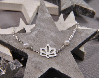 """Armband Lotus Blüte """"Little Pearl"""" aus 925/- Sterling Silber"""