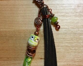 Owl Purse Charm, Green Owl Purse Charm, Bag Charm - FREE SHIPPING