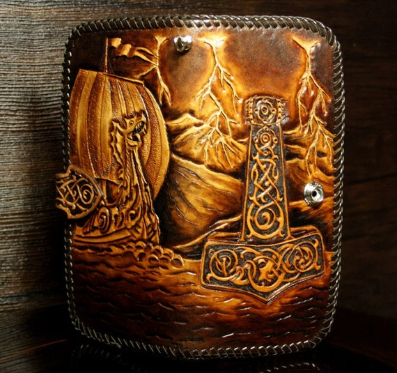 Hand tooled leather biker wallet carved long