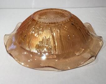 Iris and Herringbone Carnival Glass Bowl Jeannette Glass Company,Vintage Carnival Glass Iris Herringbone Amber Platter or Fruit Bowl