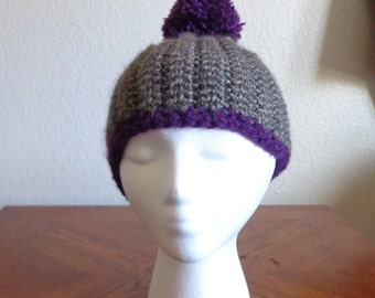 Fashionable Purple and Gray/Tan Puff Ball Hat