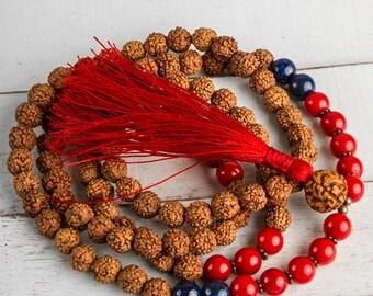 Rudraksha Mala, Japa Mala, Tassel Necklace, Mala Necklace, Yoga Mala Beads, Yoga Necklace, Meditation Necklace