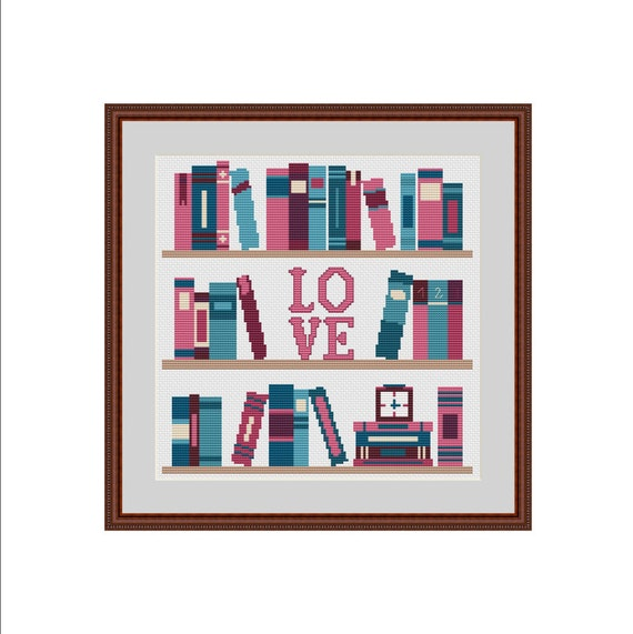 Books cross stitch bookshelf shelf by