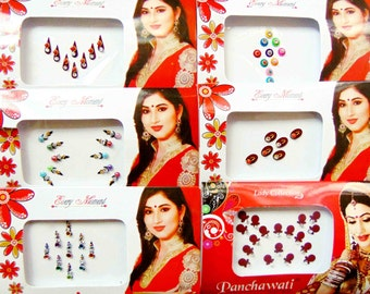 63 bindis - 6 bindi packs designer bollywood bindis / belly dance bindis / bindi stckers, body art tattoos