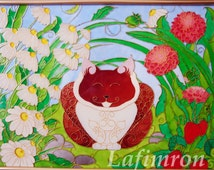 Original glass painting Kids décor Gift for daughter Gift for child Cat nursery wall art Nursery wall décor Kids room décor Cat glass art