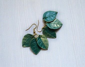 Birthday gift|for|her Elegant earrings Green earrings Green leaf jewelry Gold and green jewelry Green and gold earrings Bridesmaid earrings