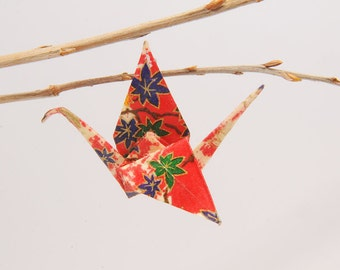"Origami ""Flower red crane""-brooch"