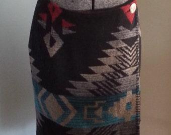 Native American Print Wrap Wool Polyester Acrylic Skirt