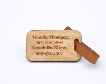 Personalized wood luggage tag, Сostom Wood Luggage Tag,Identification Wood Gift, Personalised Travel Gift, Can be added to bag tag