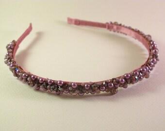 Purple tiara, Bridesmaid's tiara, Bridesmaid gift, Beaded tiara, Beaded headband, Hair accessories, Gift for her, Purple crystal tiara
