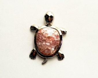 Pink Shell Sea Turtle, Tortoise Pendant, Movable Legs and Head, Necklace/Pendant, Tibetan Silver, 4.5 cm x 6.5 cm, Gift For Her, 1 Pc.,