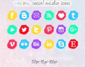 Rainbow Colors Social Media icons - pompon - Cute Blogger Wordpress Blog Buttons PNG