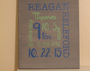 "Personalized Baby Canvas/ Birth Announcement/ 11""x14"""