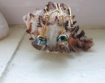 Green and gold earrings , Drizzle bead earrings , Kidney wire earrings , Gold plated earrings
