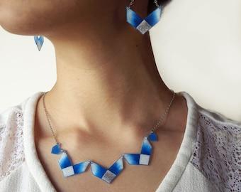 Ice Illustration Earrings, Snowflake, Chevron Earrings, Blue and White, Wearable Art
