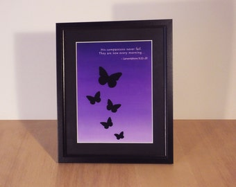 New every morning - Lamentations 3:22-23 - butterfly print