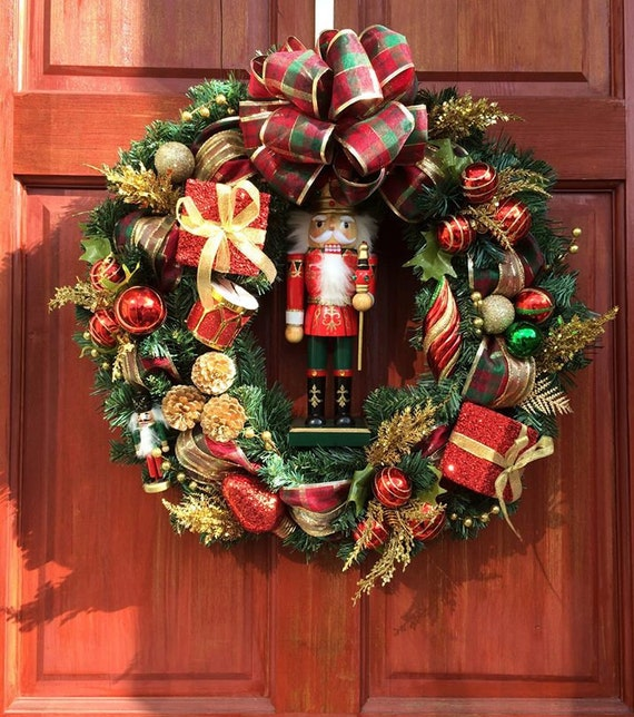 FREE SHIPPING, Nutcracker Wreath, Christmas Wreath, Winter Wreath, Classic Christmas Wreath
