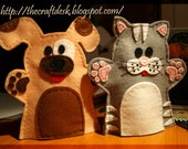 Cat and Dog felt hand puppet for kids  100  wool felt hand puppet  puppet  toy  gift  children  dog  kitten  kitty  animal  pet