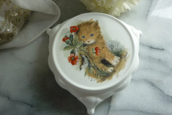 Hand painted, ceramic, tea pot trivet stand with blue eyed kitten and floral design, wedding, anniversary, birthday, tea party, tea time