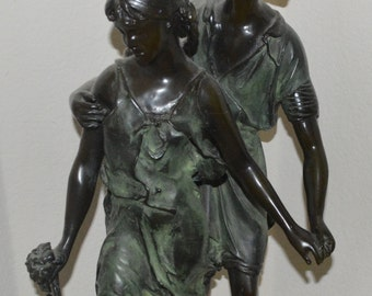 "Original AUGUSTE MOREAU C19th 28"" Signed Bronze Sculpture 'Amourous Couple' RARE"