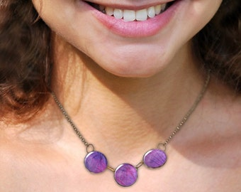 Purple necklace, Glass dome necklace, Chunky bib necklace, Trio necklace, Boho jewelry for women, Autumn necklace, Gift idea, 5089-6