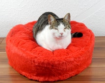 Cat bean bag bed fluffy red synthetic fur bed for your cat royal bed for your pets gift filled with bean filling with non slip material