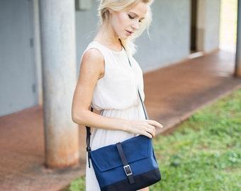 Navy Blue Canvas Purse - Womens Purse - Sling Purse - Woman Handbag - Canvas Bag - Crossover Bag Crossbody Satchel - Messenger Bag