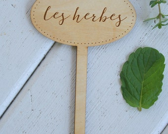 Les Herbes Tag // French Herb Tag // Plant Markers // Engraved Plant Stakes // Herb Garden Accessory // Indoor Garden // Gifts Under 5